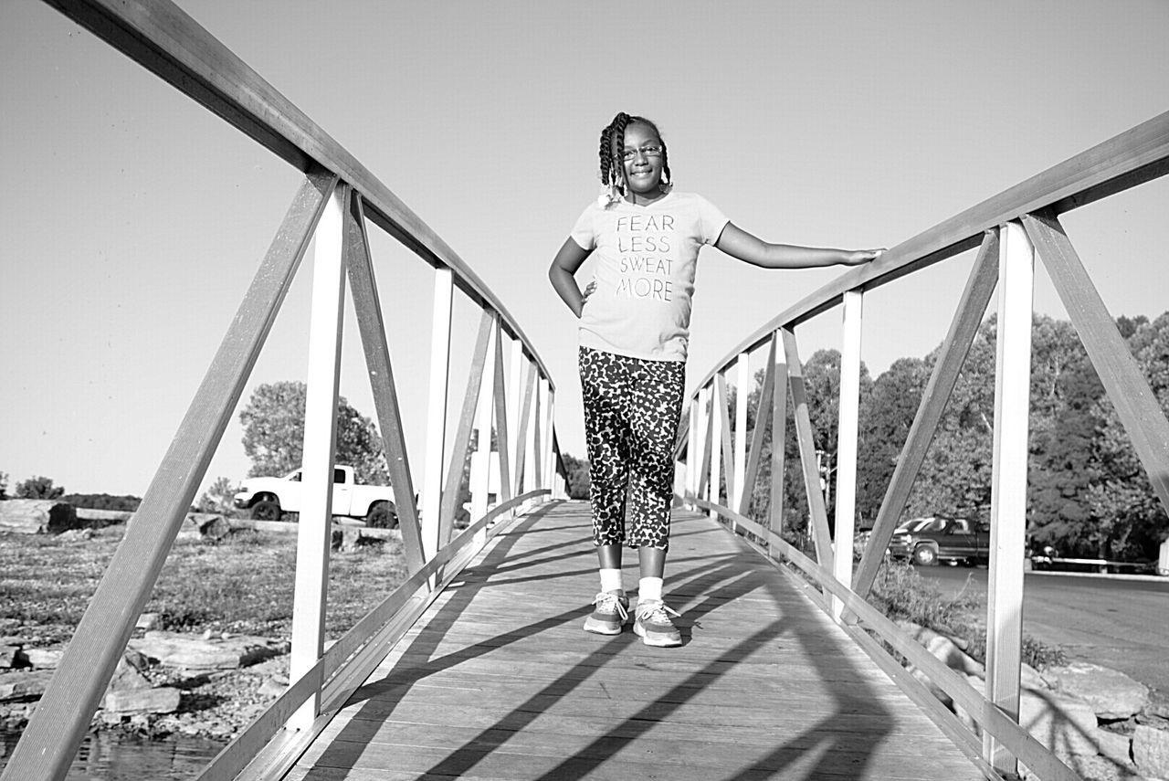 Clear Sky Bridge - Man Made Structure Sunlight Railing Boat Dock Children Portraits Children Photography