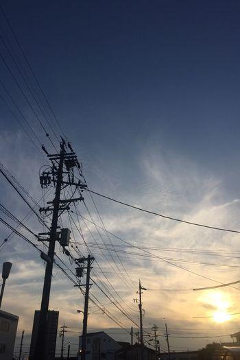 夕陽 夕焼け Sunset 空 Sky 電柱 Utility Pole 電線 Electric Wires