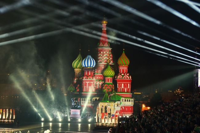 Moscow Redsquare Spasskaya Tower 2015  Creative Light And Shadow Russia Night Lights City Lights Москва Спасскаябашня Red Square during the Festival Spasskaya Tower was beautiful as ever. My Favorite Place