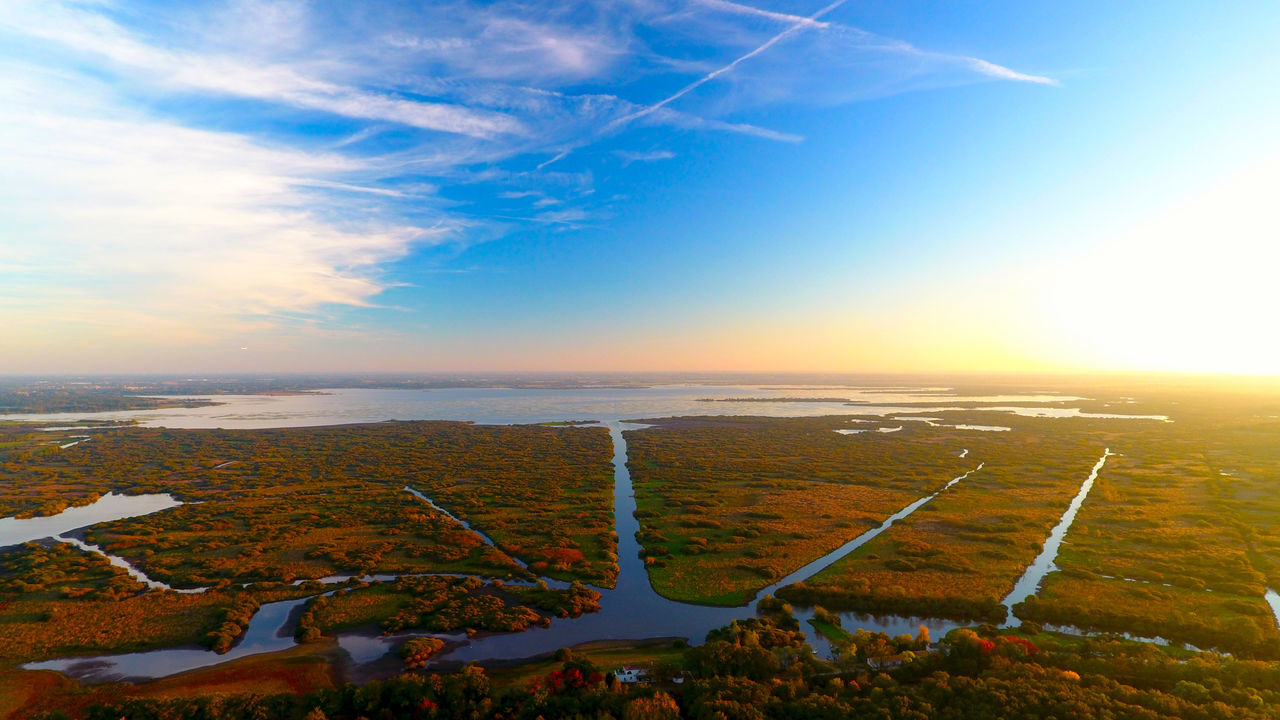Aerial Photography Aerial Shot Aerial View Automne Autumn Beauty In Nature Bouaye France Lac Grand Lieu Lake Landscape Loire Atlantique Nantes Outdoors Scenics Sky Sunset Tranquil Scene Water