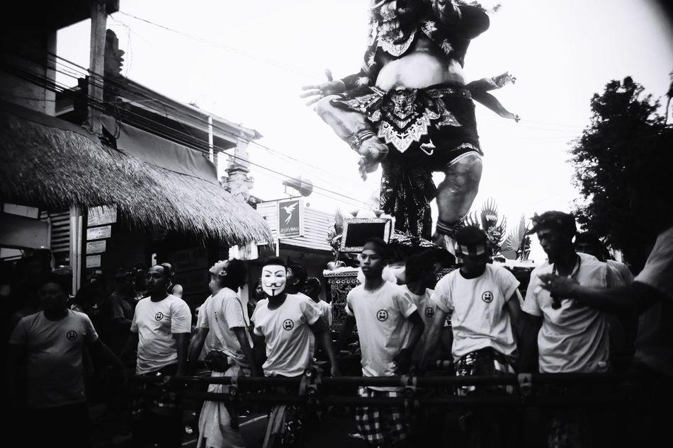 The mask Large Group Of People Real People Outdoors Men Performance Ogoh-ogoh Bali, Indonesia Ubud Togetherness