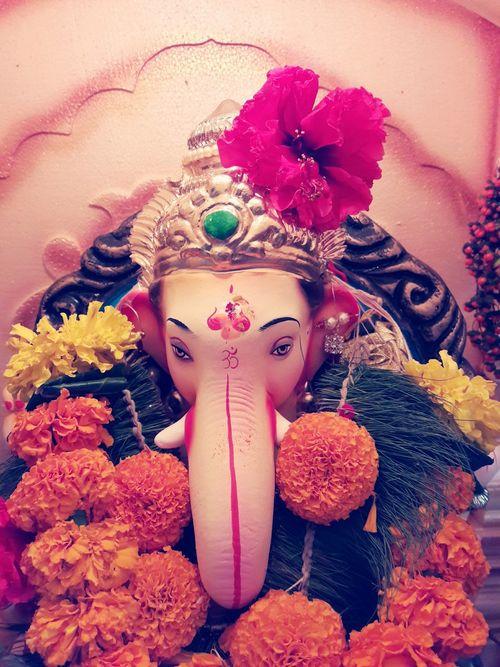 GanpatiBappaMorya Festivetime Religion Culture Tradition Freshness Idol Flower Multi Colored Man Made Object First Eyeem Photo