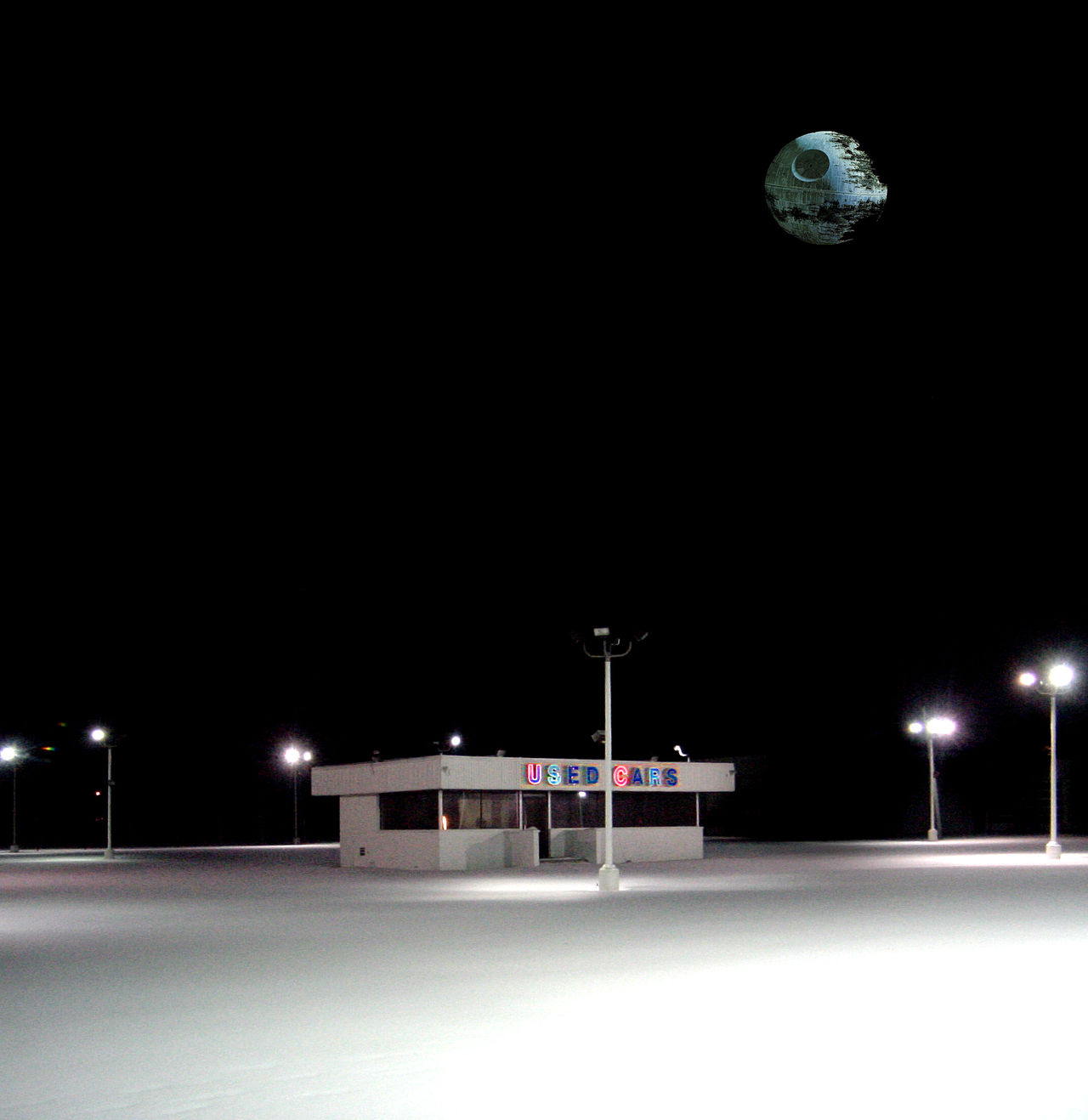 Abandoned Buildings Abandoned Places Death Star Empty Parking Lot Lonely Places Neon Lights Neon Signs Nightphotography Parking Lot, Empty Snow Star Wars Used Cars Winter