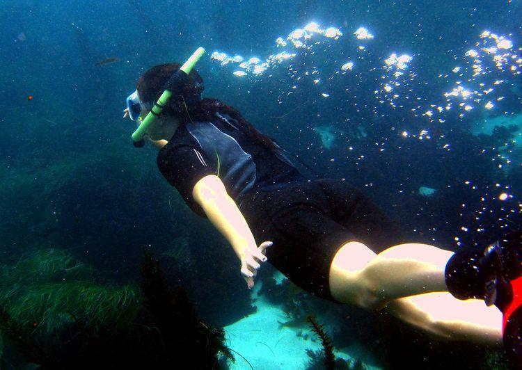 Snorkeling Snorkling Girl Under Water Underwater
