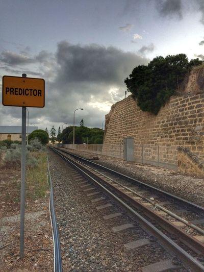 Predictor Tracks Railroad Track Transportation Communication Text Sky Rail Transportation Cloud - Sky