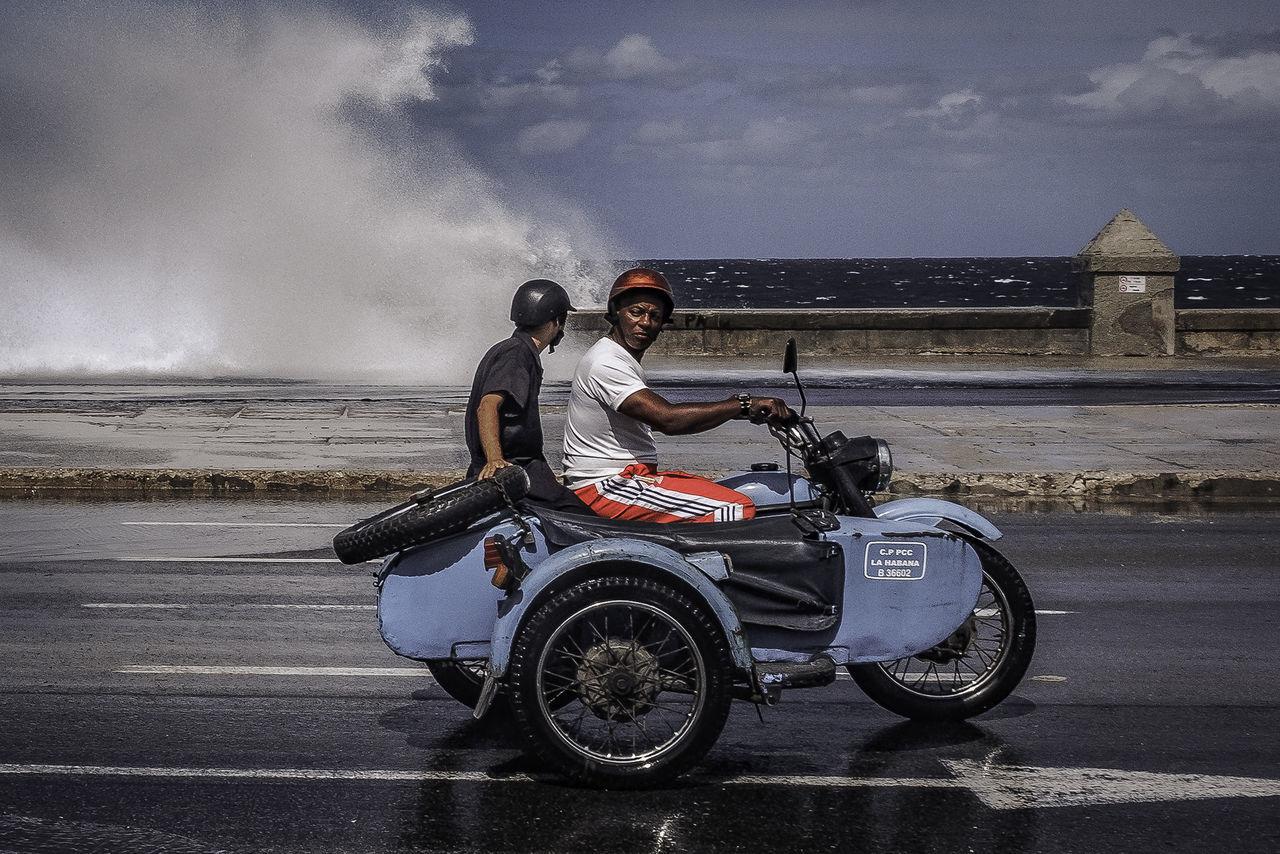 Malecon, Cuba Cuba Cuba Collection Havanna, Cuba Malecon Motorcycle cuban life malecón, la habana men moto street photography streetphotography Transportation water waves EyeEmNewHere