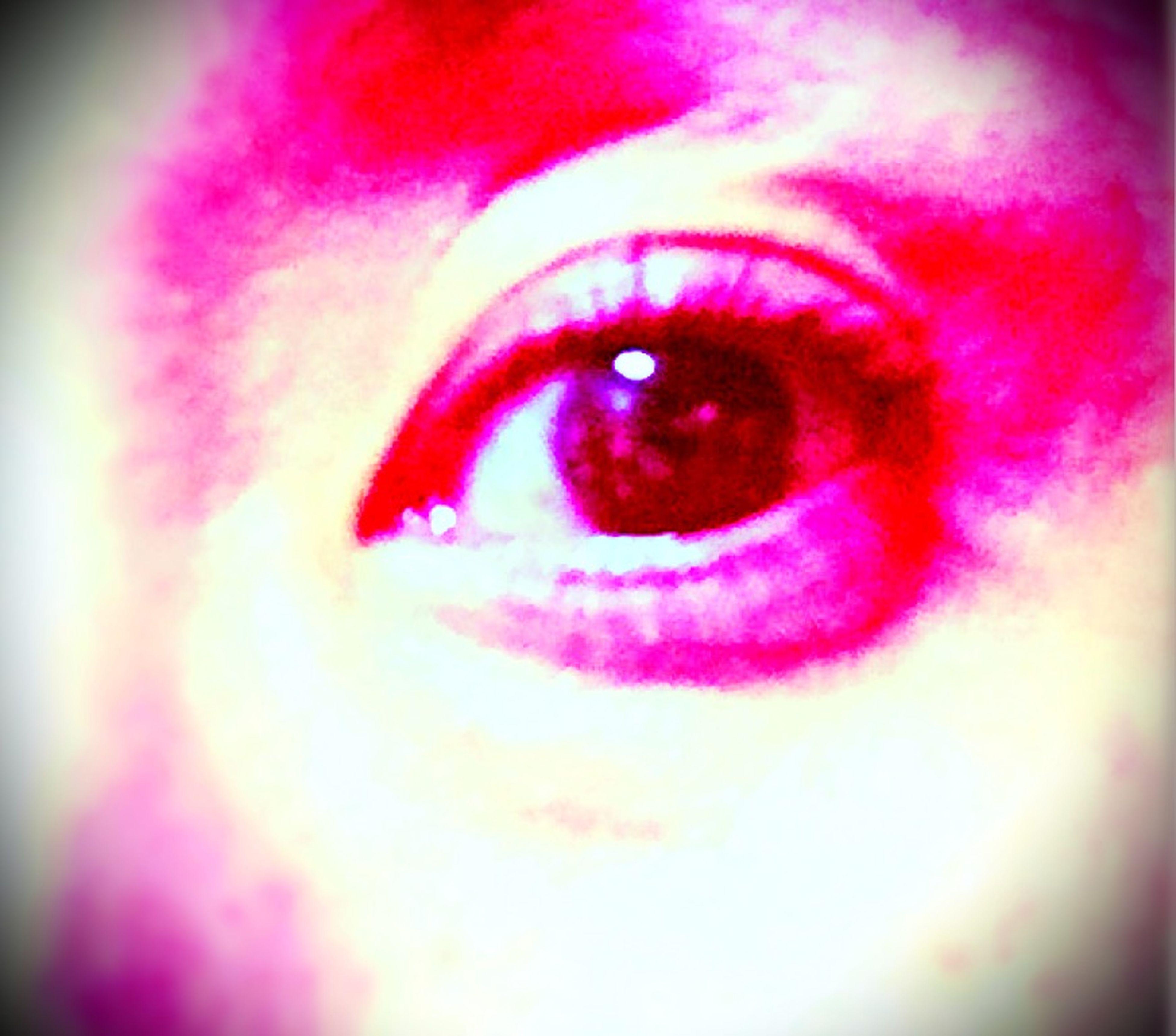 red, close-up, human eye, pink color, extreme close-up, eyelash, human face, part of, reflection, selective focus, circle, sensory perception, extreme close up, indoors, headshot, eyesight, detail