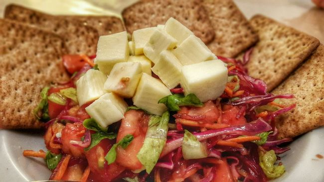 Salad No People Color Food Healthy Food Food&drinks  High Angle View Indoor Vegetables Crackers
