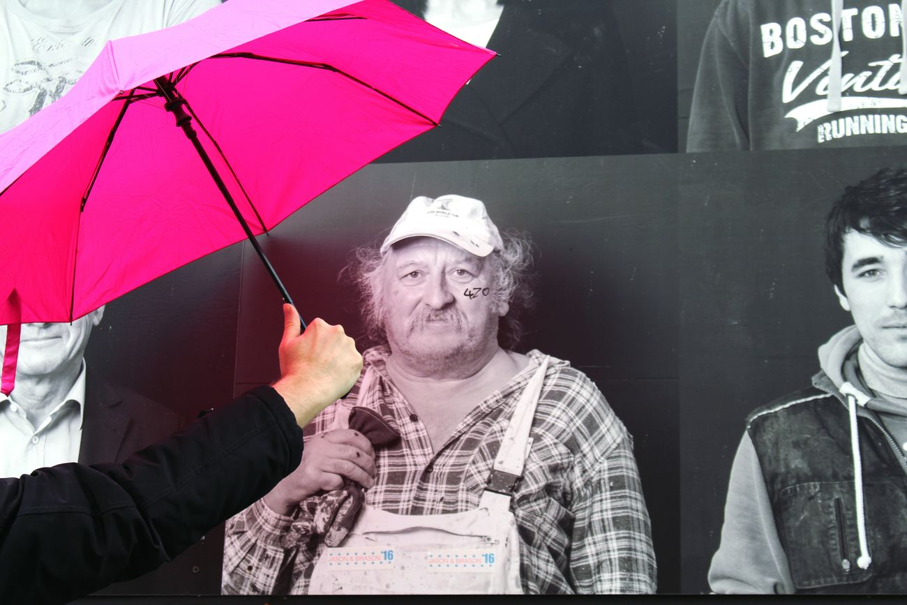 🎼Why is it always raining on me... ☔🌧️🌂😝🎶 Beard Individuality Happiness Only Men One Person One Man Only Mature Adult People Pink Color Pink Umbrella Umbrella☂☂ Funny Funny Faces Fun Men