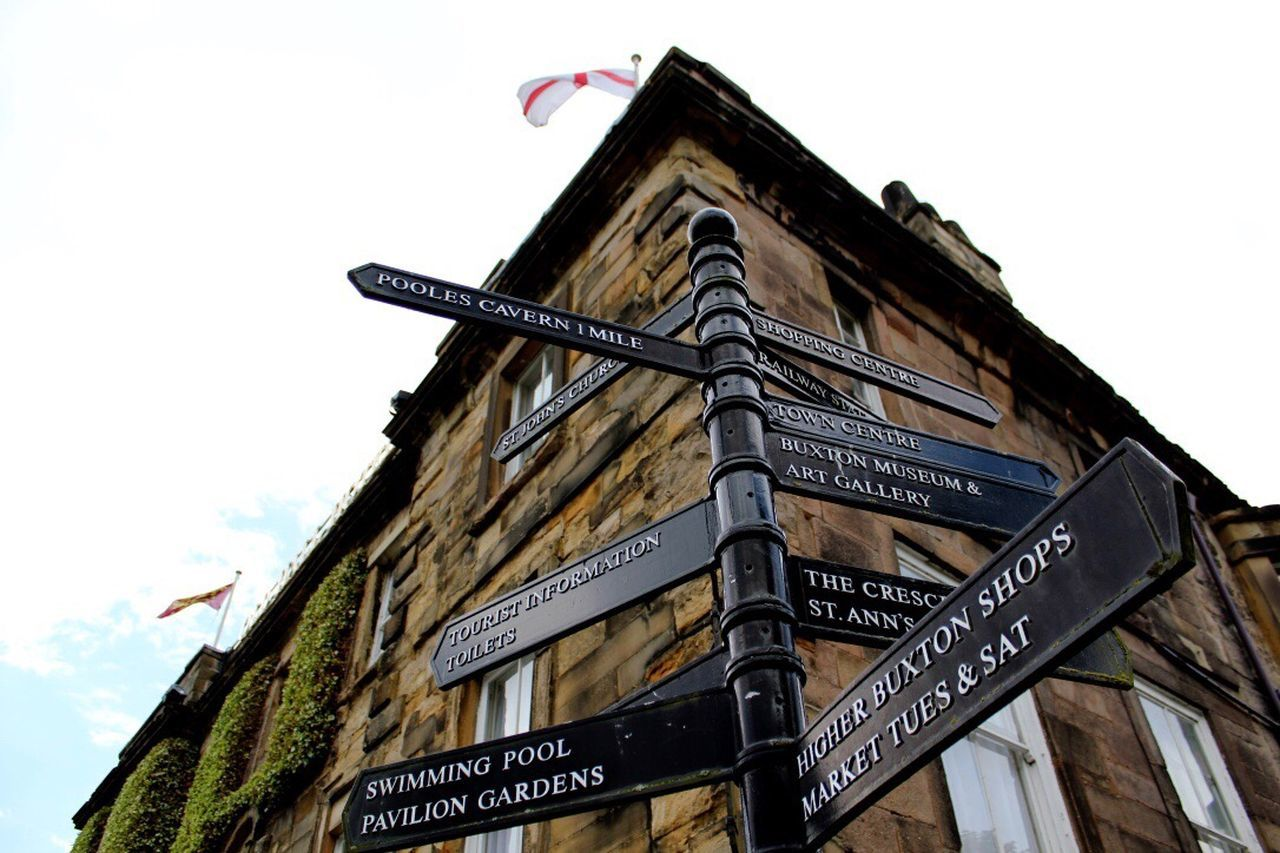 Building Exterior Low Angle View Architecture No People City Buxton Cheshire Signposts directions