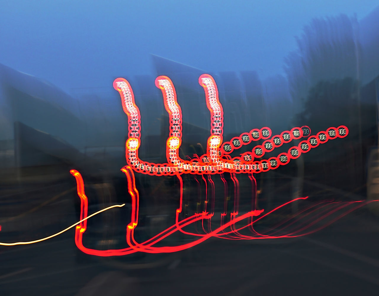 Blurred Motion Communication Illuminated Neon No People Outdoors Speed Limit Sign Traffic Transportation Tunnel