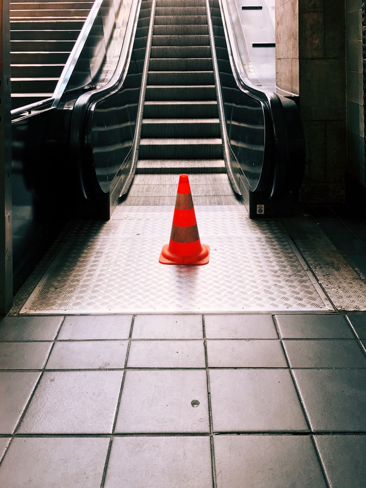 Red Transportation The Way Forward Day No People Outdoors Traffic Cone Construction Underground Stairs Stairways Sign