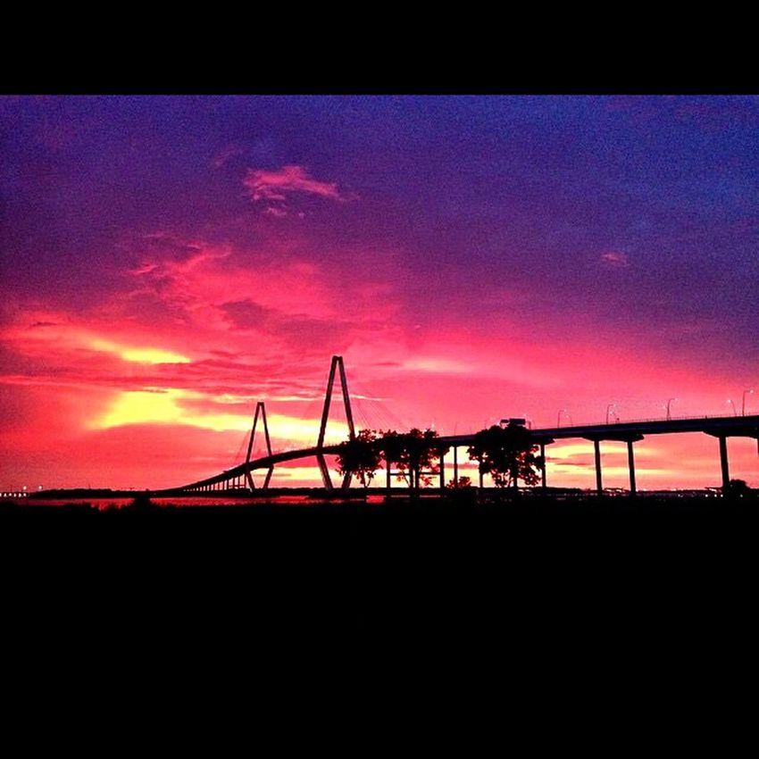 Charleston SC Ravenal Bridge Sunset Silhouette Feel The Journey