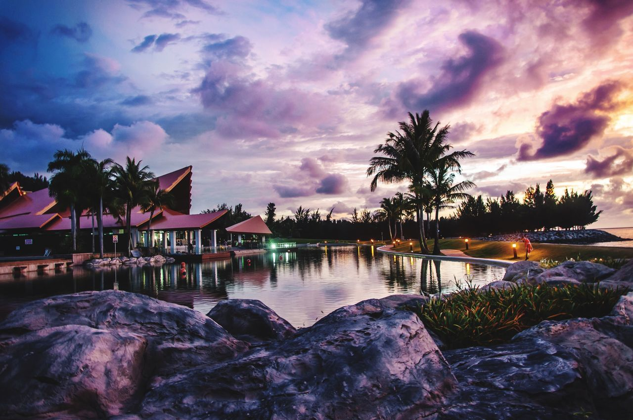 Sky Water Sunset Palm Tree Tree Beauty In Nature Nature Cloud - Sky Scenics No People Outdoors Tranquil Scene Architecture Day EyeEmNewHere Brunei Darussalam EyeEmNewHere EyeEmNewHere