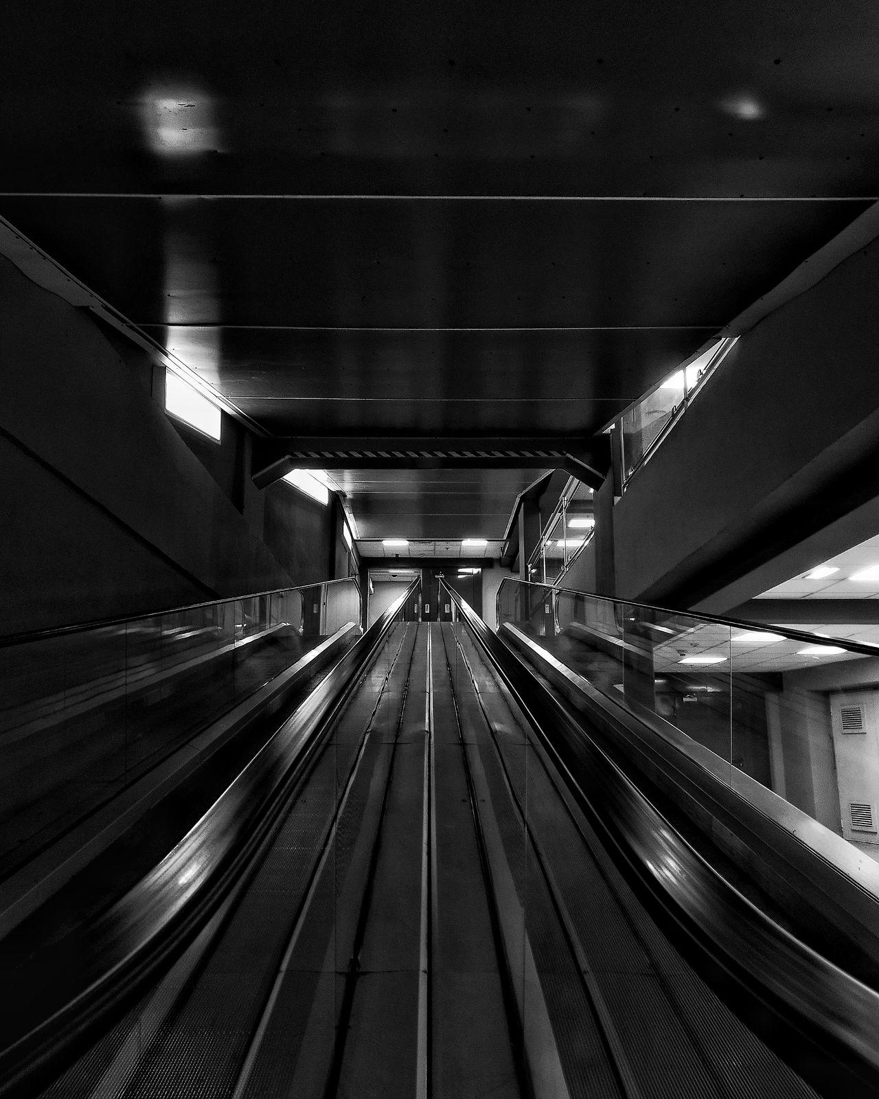 Escelator Indoors  No People Moving Walkway  Darkness Photography Dark Glass