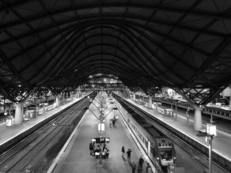 Almost empty Southern Cross station, Melbourne Australia. Thousands of people were out celebrating white night in the city Melbourne City Trainstations Black And White City Architecture Night