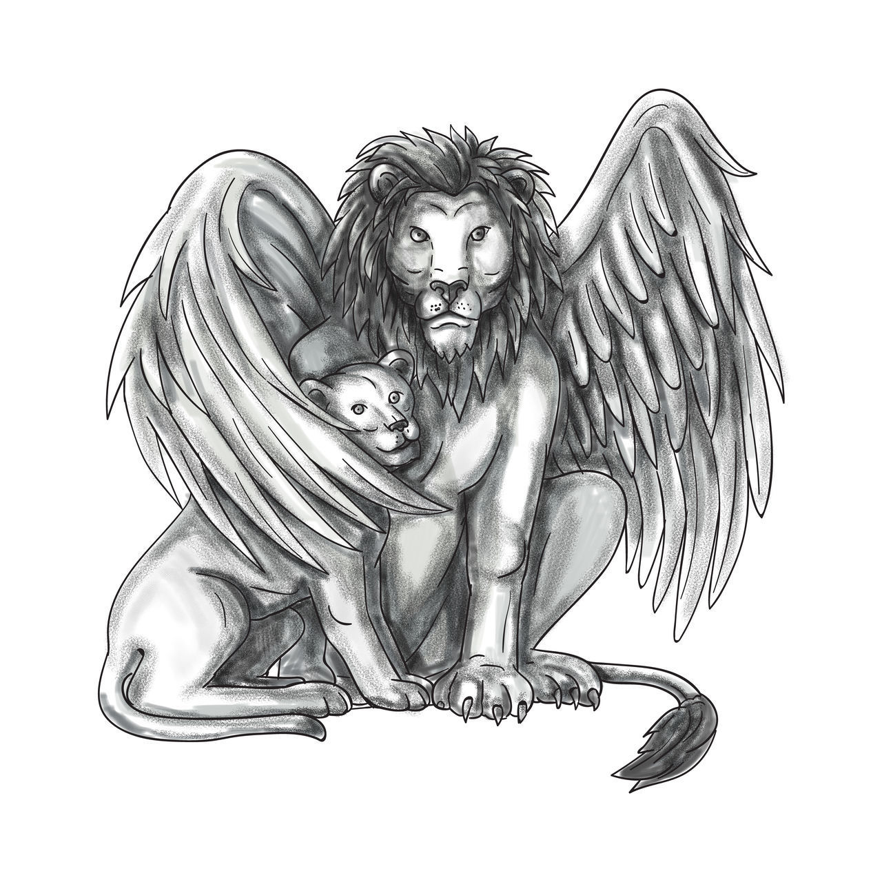 Tattoo style illustration of a winged lion, a mythological creature that resembles a lion with bird-like wings, protecting its cub by putting it under it's wing set on isolated white background viewed from front. Bird Like Wings Charcoal Cub Drawing Ink Lion Mythological Creature Sketch Tattoo Tattooing Traditional Tattoo White Background Winged Lion
