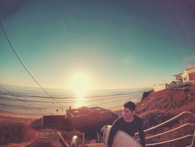 First surf sesh since my surgery 3 months ago. Felt amazing getting back out in the water. Sun Sky Sunset Nature Beach San Diego On The Beach Selfie ✌ Self Portrait That's Me Surfing Gopro