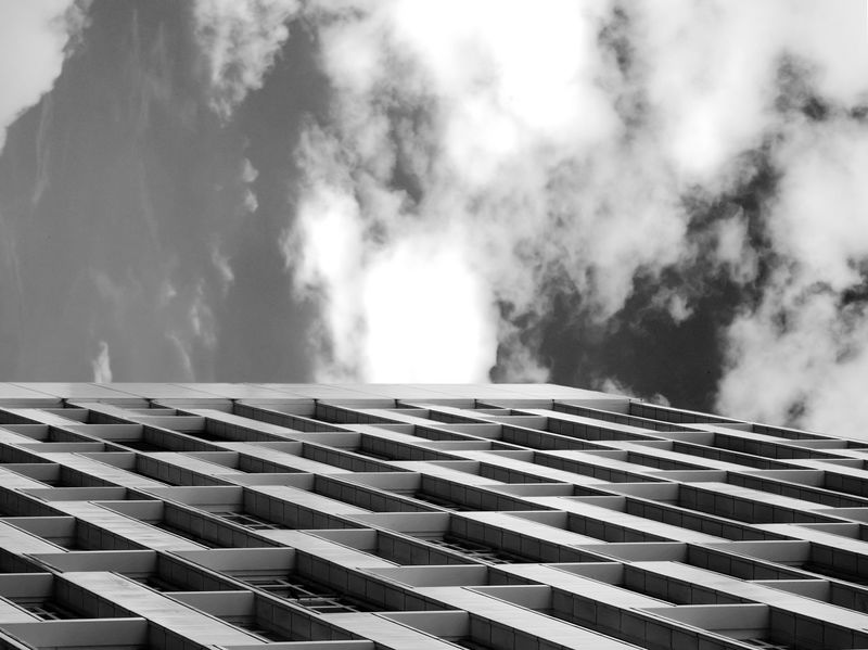 Angles Architecture Architecture Berlin Black And White Brutalism Building Building Exterior Buildings & Sky Built Structure Cloud - Sky Clouds And Sky Contrast Day Façade Geometry Lines Low Angle View No People Office Building Pattern Repetition Sky Tower Window