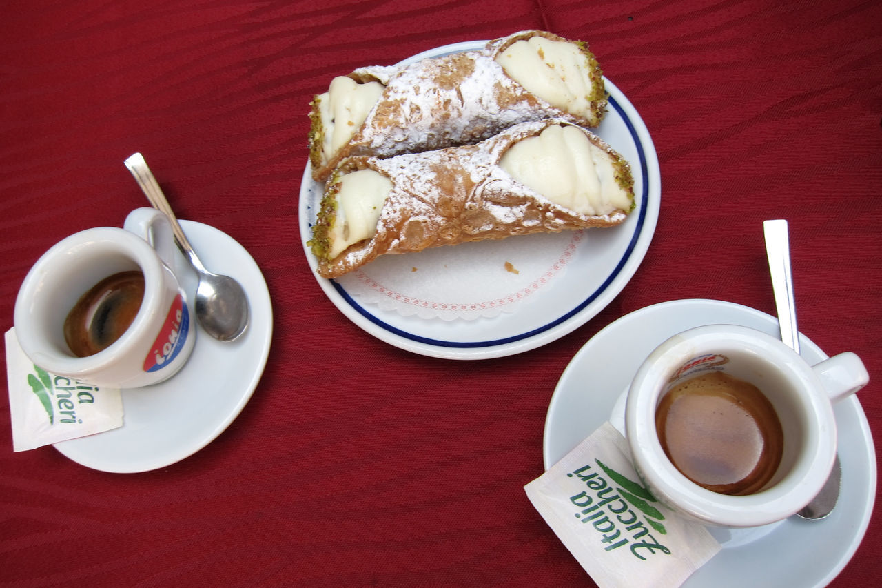 Canoli Cake Coffee - Drink Coffee Cup Cup Dessert Directly Above Espresso Food Food And Drink No People Sweet Food Table