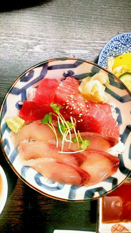 Japanese Food Yellow Tail Amberjack Buri Tuna Maguro Donburi Tukemono