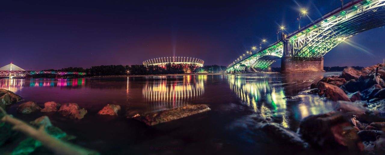 night, illuminated, architecture, water, built structure, river, sky, bridge - man made structure, travel destinations, building exterior, outdoors, city, nature, no people, clear sky
