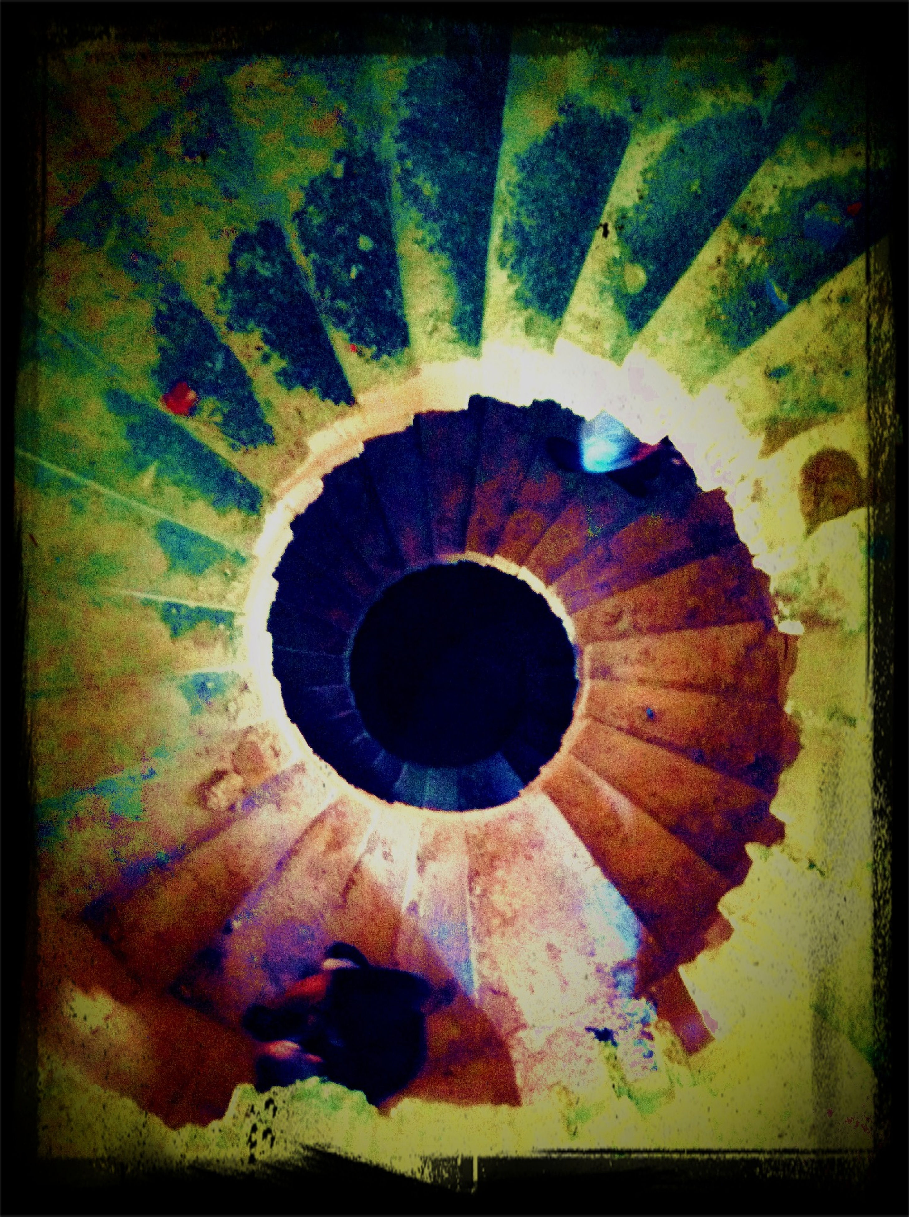 transfer print, indoors, auto post production filter, circle, pattern, built structure, steps, steps and staircases, architecture, high angle view, design, geometric shape, full frame, wall - building feature, staircase, backgrounds, textured, ceiling, spiral staircase, spiral