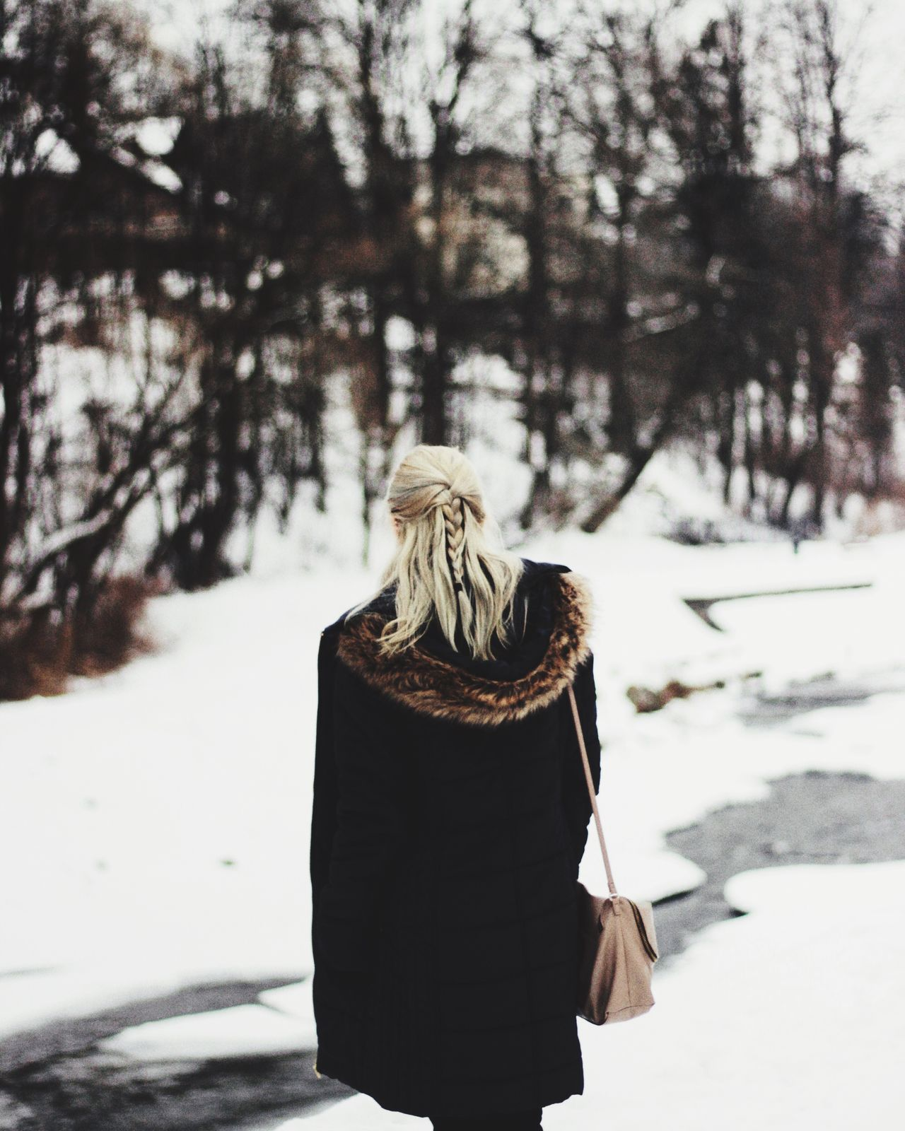Tree Focus On Foreground Winter Cold Temperature Outdoors Day Nature Snow One Person Beauty In Nature Girl Greyhair  Grey Canon Canonphotography Canoneos Canon600D CanonEOS600D Back Young Women Younggirl