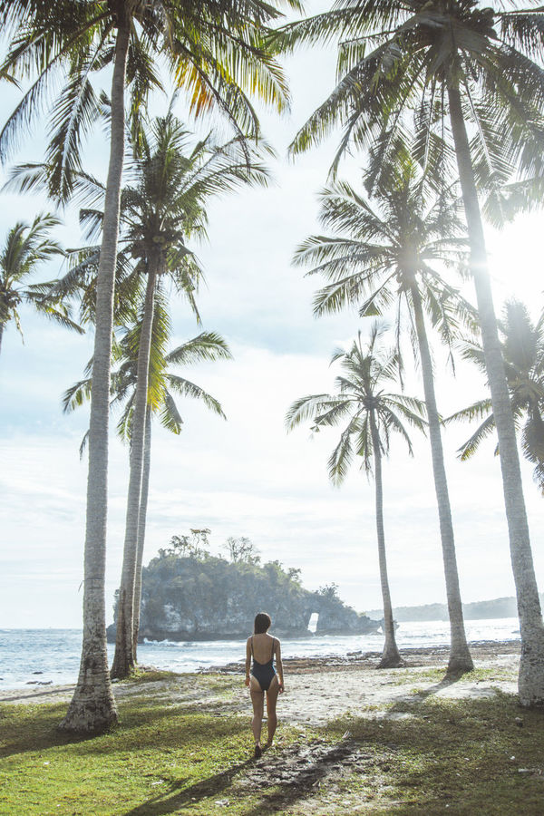 Bali EyeEm Selects INDONESIA Light Beach Beauty In Nature Day Growth Light And Shadow Nature One Person Outdoors Palm Tree People Real People Scenics Sea Standing Tree Tropical Water Young Adult Young Women