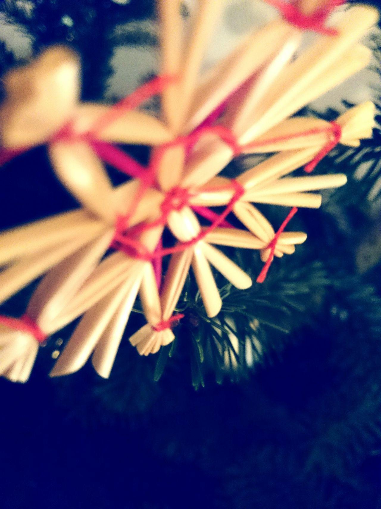 Ich wünsche euch Frohe Weihnachten /// Weihnachtsstern aus Stroh am Christbaum