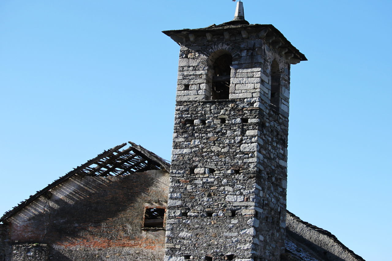 Abandoned Ameno Town Architecture Bell Tower Building Exterior Built Structure Church Clear Sky Day History March 2017 No People Old Ruin Outdoors Piemonte Tower