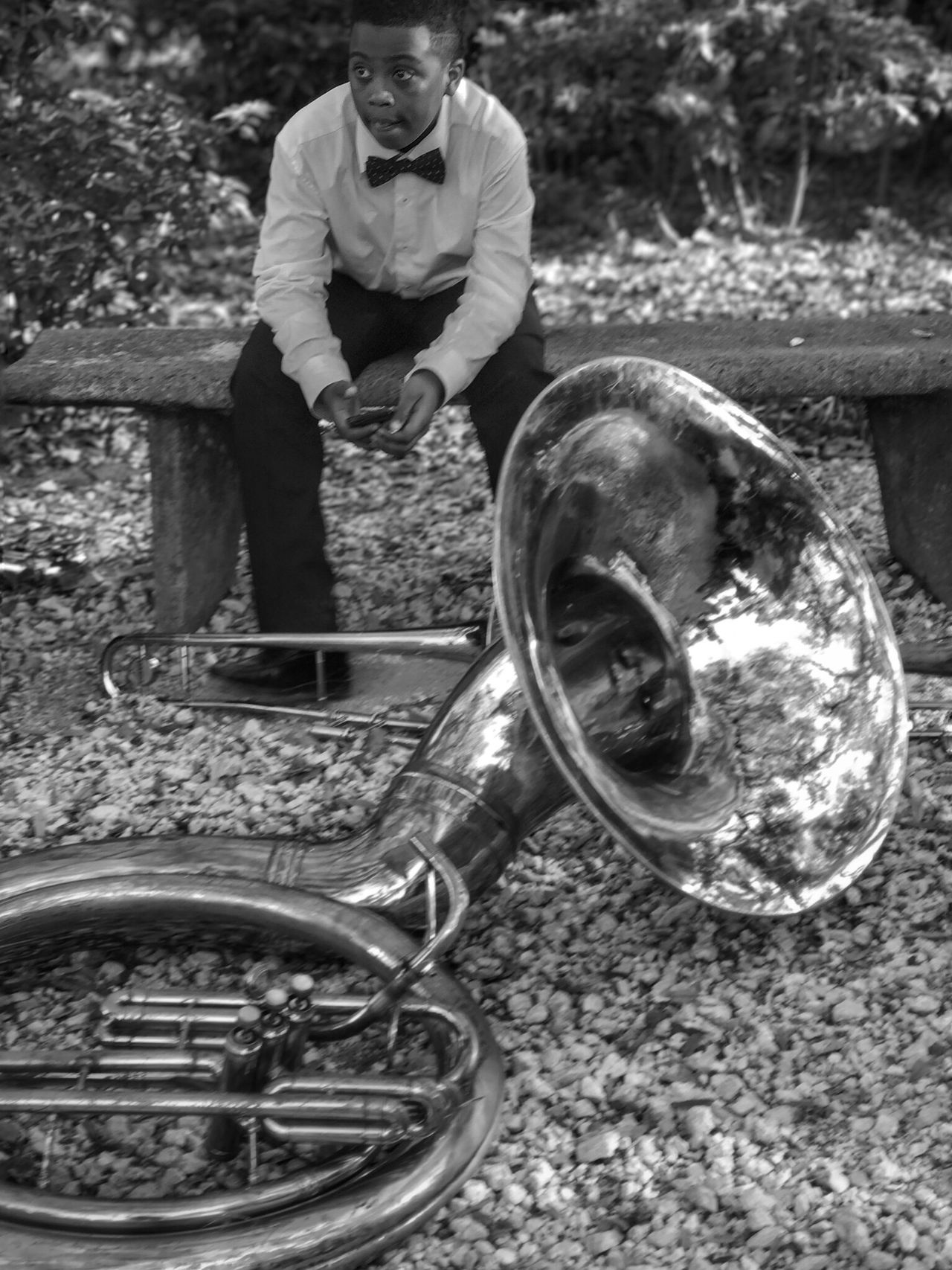 Band life. Somebodyhastoguardthetuba New Orleans Brass Instruments Sharp Dressed African American Cool Kid One Person Outdoors Musical Instrument Musicfestival Middle School Band Competition