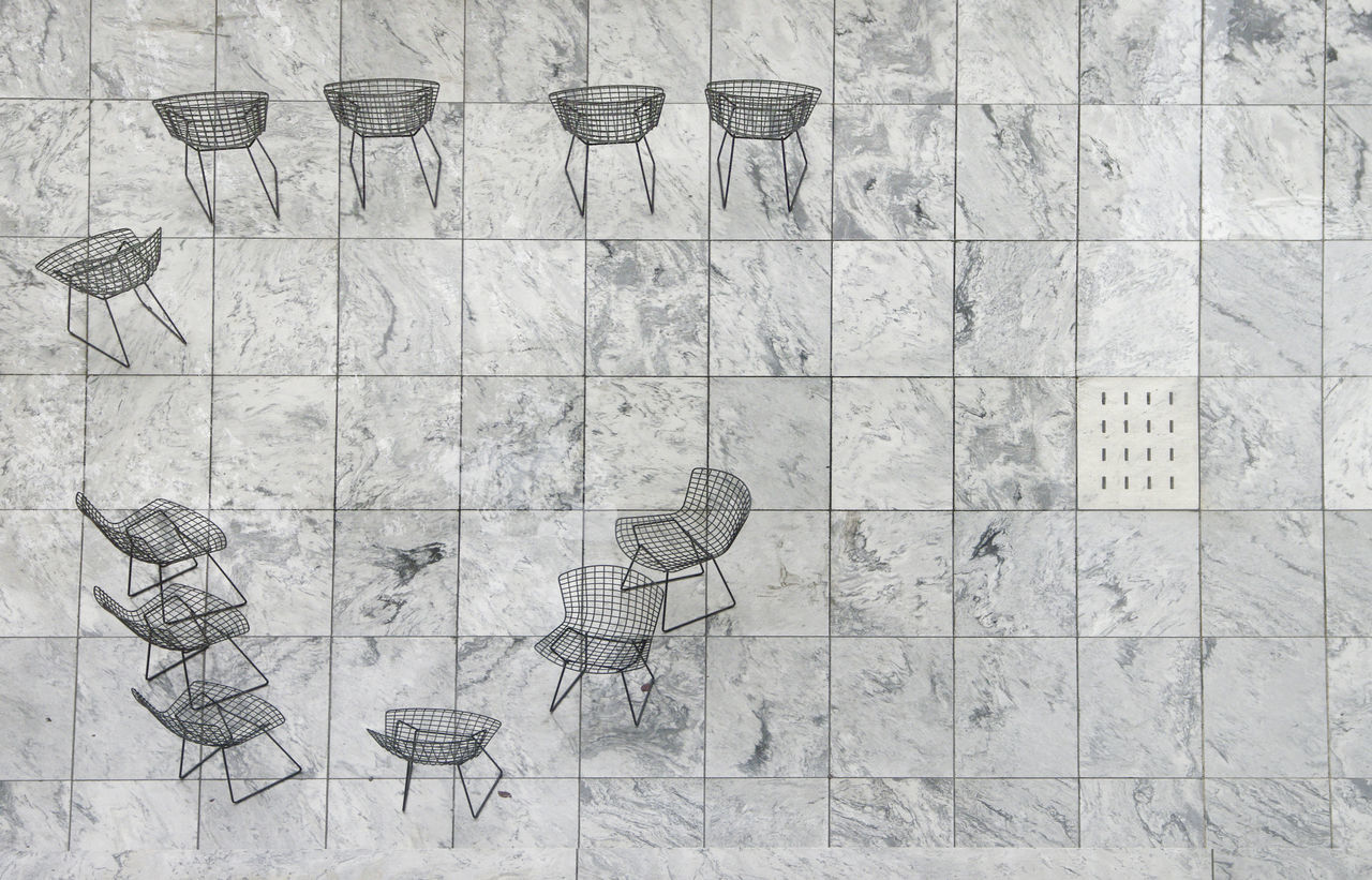 Empty Chairs City Life Cafe Pattern Texture No People Marble Wire Chair Eleven Black And White Aerial View Looking Down Overhead Left Oriented Square Tiles EyeEmNewHere