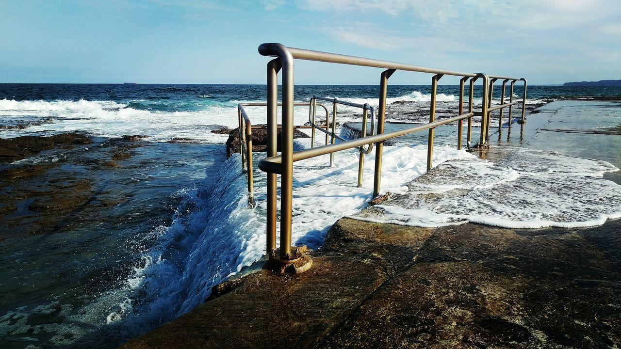 Newcastle Ocean Baths Nature IPhoneography Taking Photos Australia Hanging Out Enjoying Life Afternoon Sun Water Wave Ocean Sea Sea Spray Handrail  Oceanbaths Summer