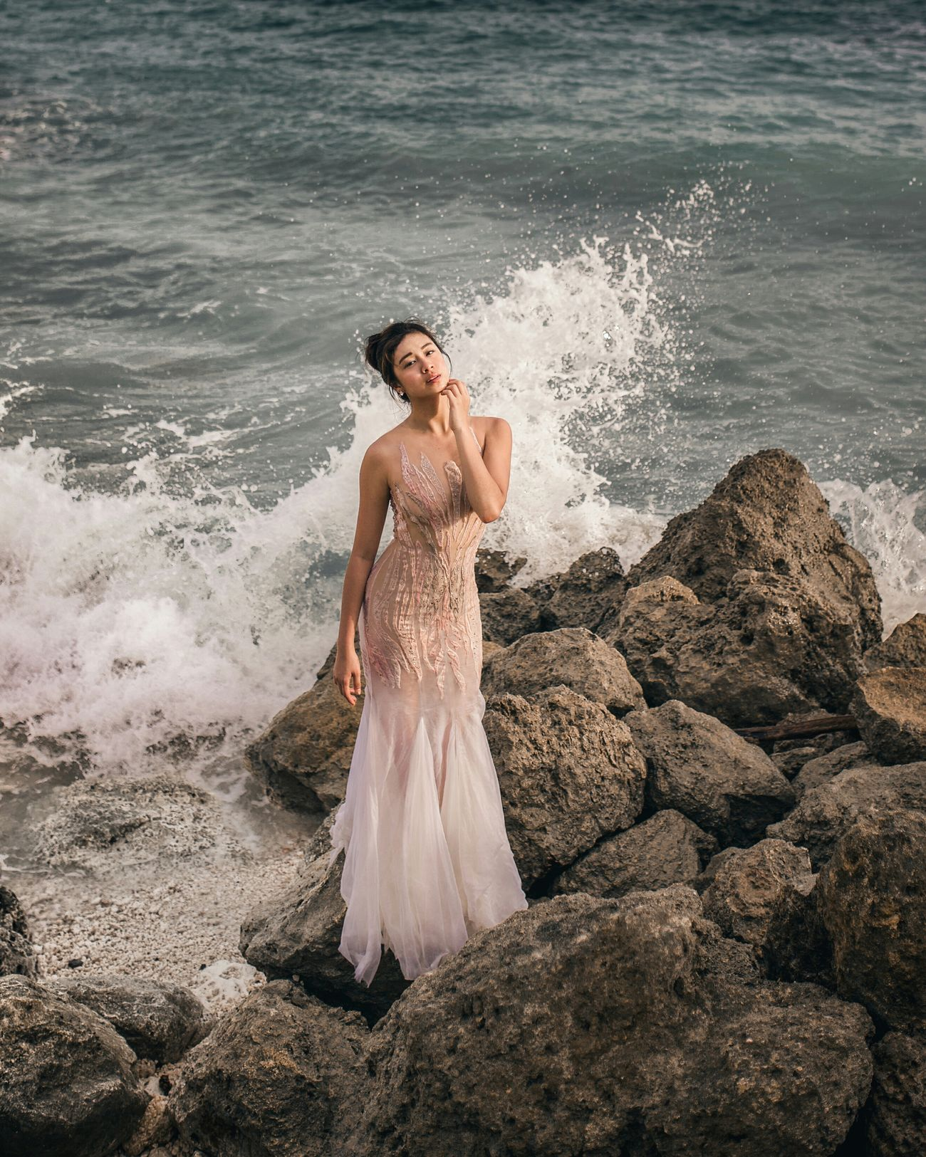 mermaid (gown by Singaporean dress designer Indra Murak) Portrait Of A Woman Portrait Of A Girl Portrait Photography Natural Light Portrait Women Of EyeEm One Woman Only Beautiful People Outdoors Sea Wedding Dress Mermaid Beach Sand Golden Hour Fashion Fashion Photography Editorial