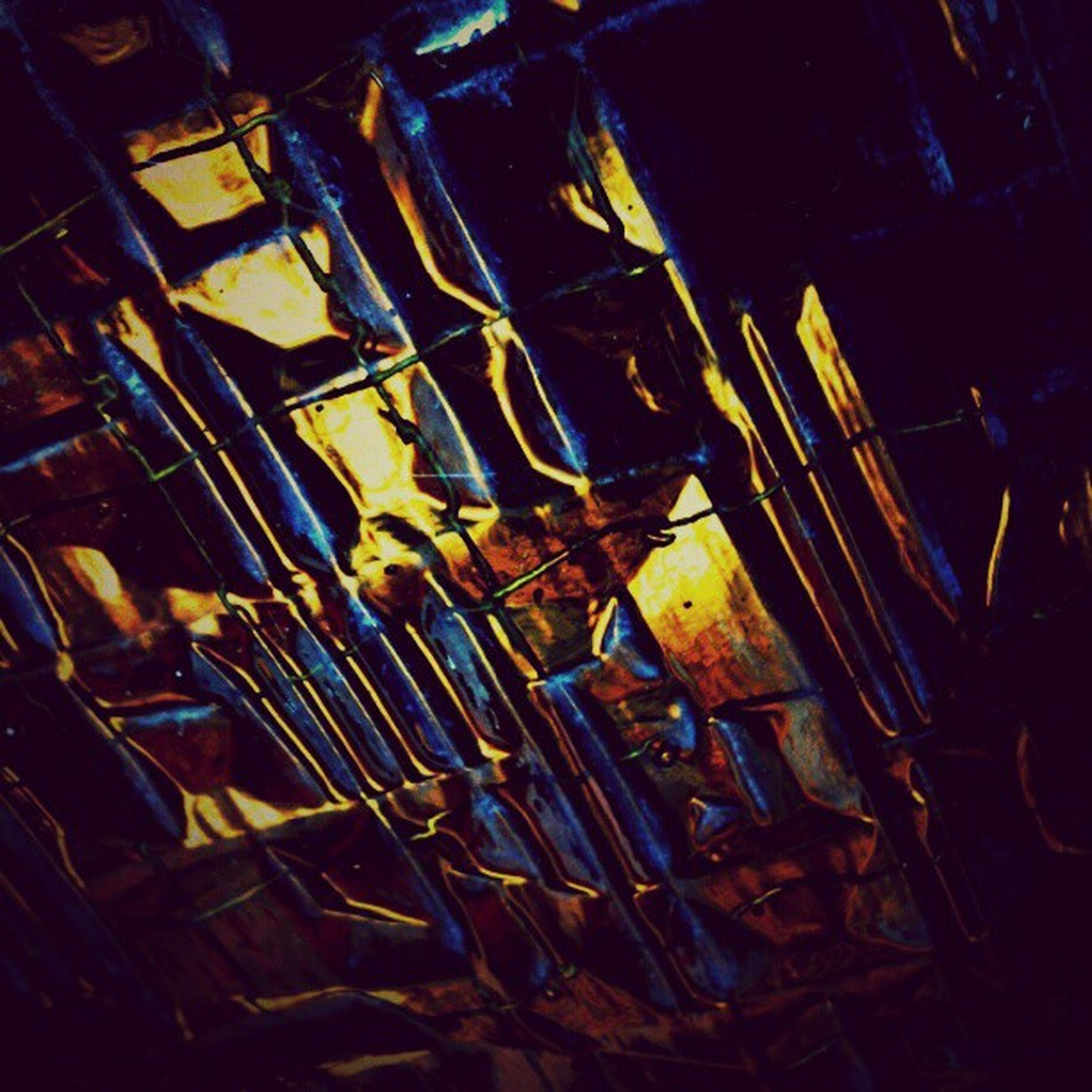 indoors, illuminated, night, metal, abandoned, close-up, still life, no people, old, wood - material, high angle view, lighting equipment, low angle view, large group of objects, light - natural phenomenon, damaged, pattern, abundance, obsolete, metallic