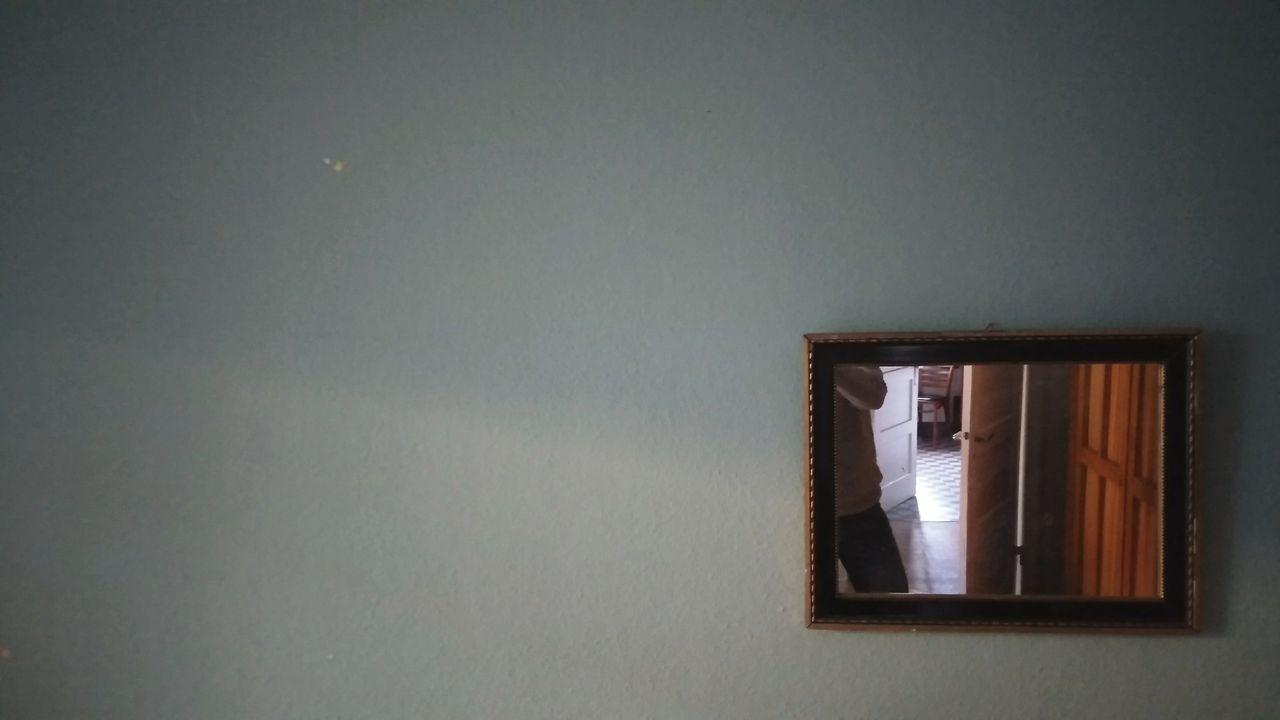 Mirror with Self. · Hamburg Germany Apartment Wall Mirror Reflection Frame Playing Light Still Life