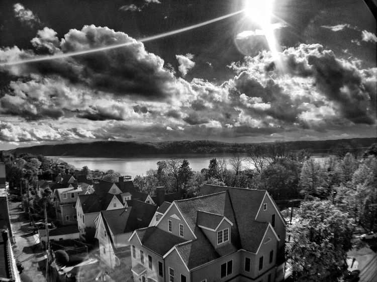 Along the Hudson Nature Blackandwhite Landscape Clouds And Sky