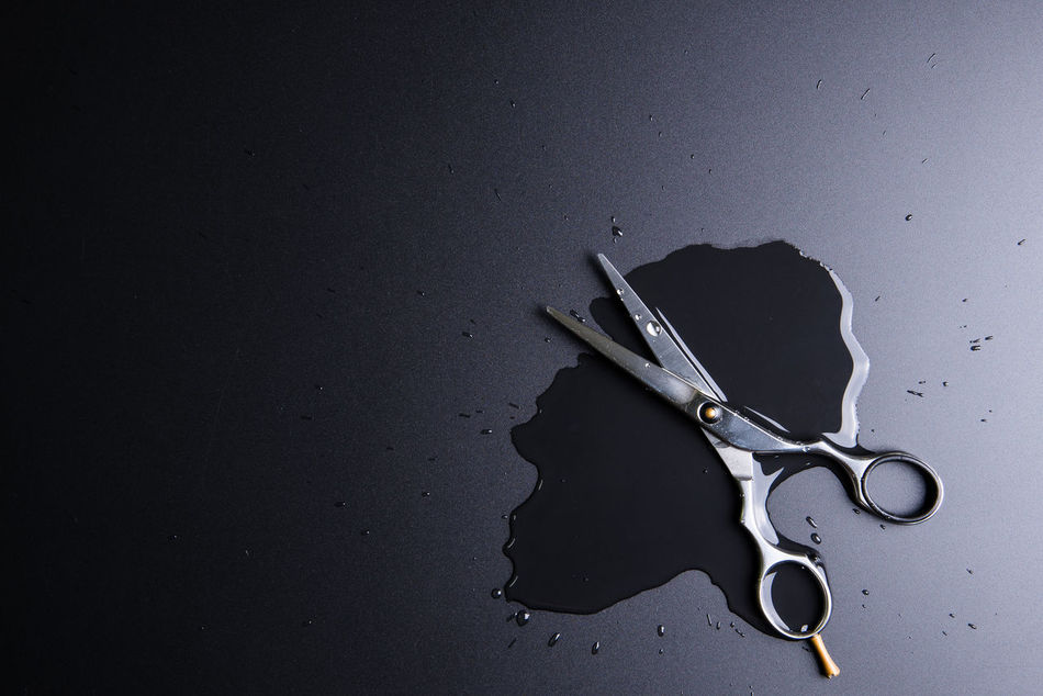 Stylish Professional Barber Scissors, Hair Cutting on black background. Hairdresser salon concept, Hairdressing Set. Haircut accessories. Copy space image, flat lay Accessory Background Barber Closeup Comb Cut Cutting Design Equipment Fashion Hair Hair Salon Hair Style Haircut Hairdresser Hairsalon Hairstyle Hairstyles Hairstylist Indoors  No People Professional Salon Scissor Sharp