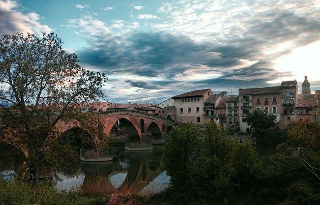 Bridge Morning Sunlight through Clouds Camino in Puente La Reina SPAIN