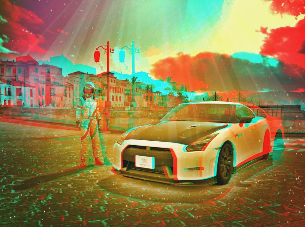 my First 3d pic created with my pc, ps3 and my htc EVO 3d Nissan GTR On The Road Cars 3D Picture