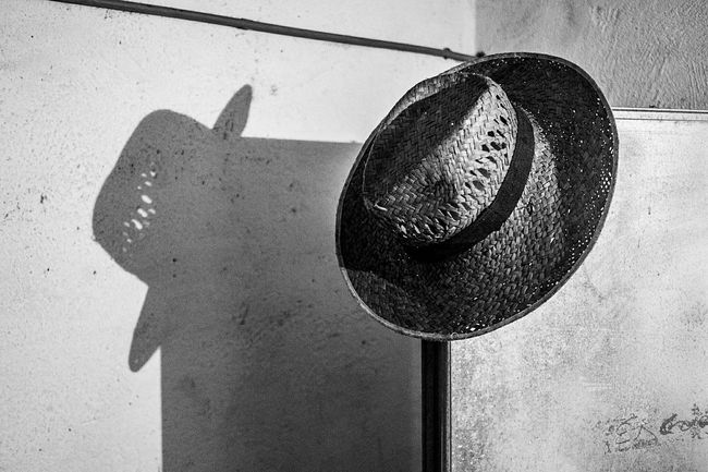 Straw Hat Light And Shadow Door Things I See Fragments Of Life No People Open Edit Monochrome Monochrome_life Blackandwhite