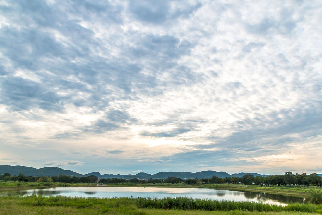 Landscape in cloudy day with fluffy cloud Background; Beauty In Nature Blue Sky; Cloud - Sky Cloudy; Day Evening; Fluffy Cloud; Grass; Green; Lake Landscape Meadow; Mountain; Nature No People Outdoors Pond; Scenics Sky Terrain; Tranquil Scene Tranquility Tropical; Water