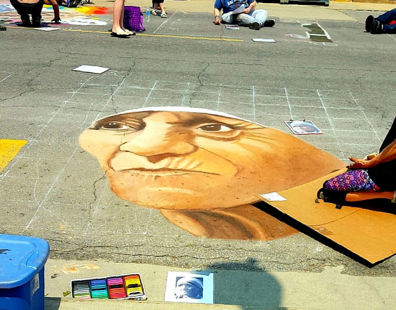 Mother Teresa chalk art in progress Iowa Creative Taking Photos Chalk The Walk Artist Mt Vernon Chalk Art Mother Teresa