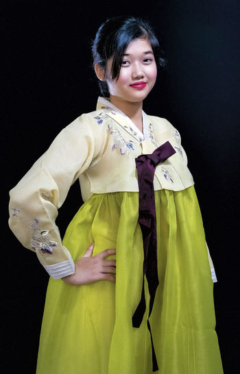 Black Background Casual Clothing Confidence  Fashion Front View Girl In Hanbok Hanbok Korean Traditional Clothes Lifestyles Person Portrait Potrait_photography Studio Shot Teen Girl Traditional Clothing Young Lady In Traditional Costume The Portraitist - 2016 EyeEm Awards