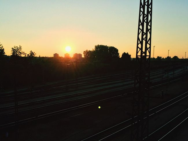 Spring Sun Sunset Train Railway Bridge Clear Sky Home Sweet Home Walking Hanging Out Hello World Taking Photos
