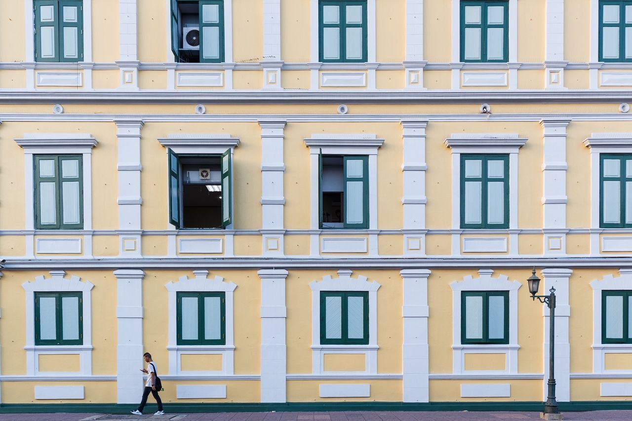 window, architecture, building exterior, built structure, yellow, outdoors, day, no people