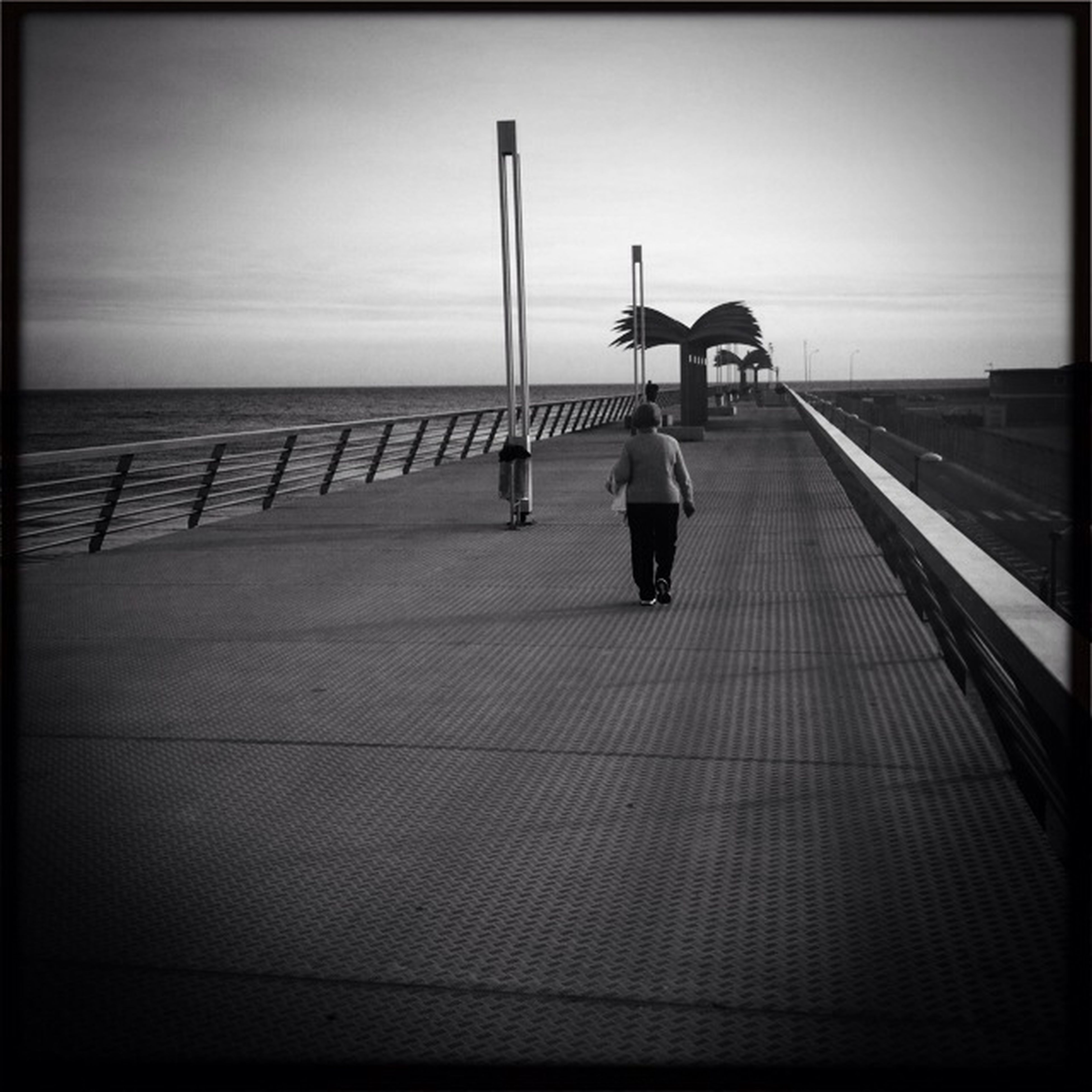 transfer print, full length, rear view, auto post production filter, lifestyles, walking, men, railing, sea, leisure activity, sky, person, the way forward, standing, transportation, clear sky, horizon over water, on the move