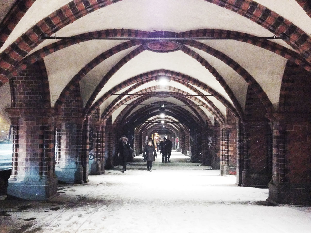 Arch Architectural Column Architecture Archway Bridge Building Exterior Colonnade Corridor History In A Row The Way Forward Vanishing Point Snowing Snowing Day