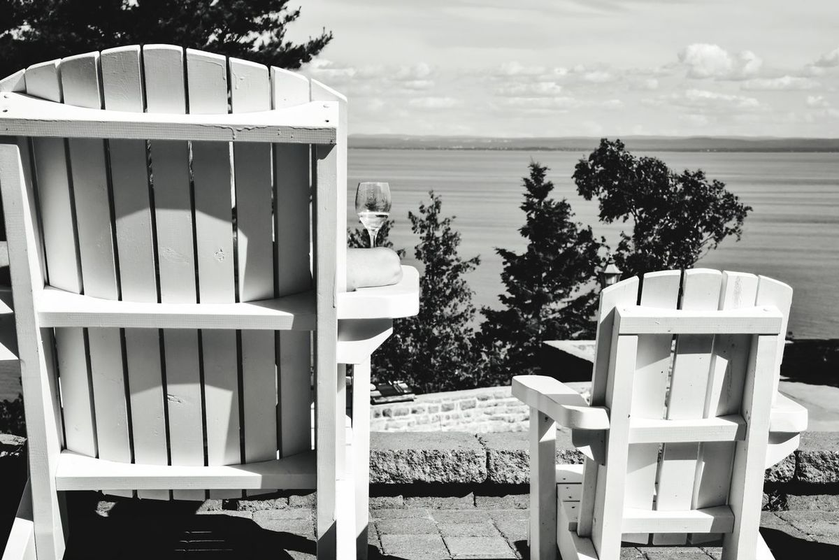 Adirondak Chair in summer sun with white wine Wood - Material Beach Outdoors No People Water Day Sea Sky Bradleywarren Photography Bradley Olson Wine Not Wineglass Wine Summer Lawn Chair Adirondack Chairs Copy Space Room For Text Room For Copy Relaxing Relax Relaxation Quiet Moments Quiet Time Quiet